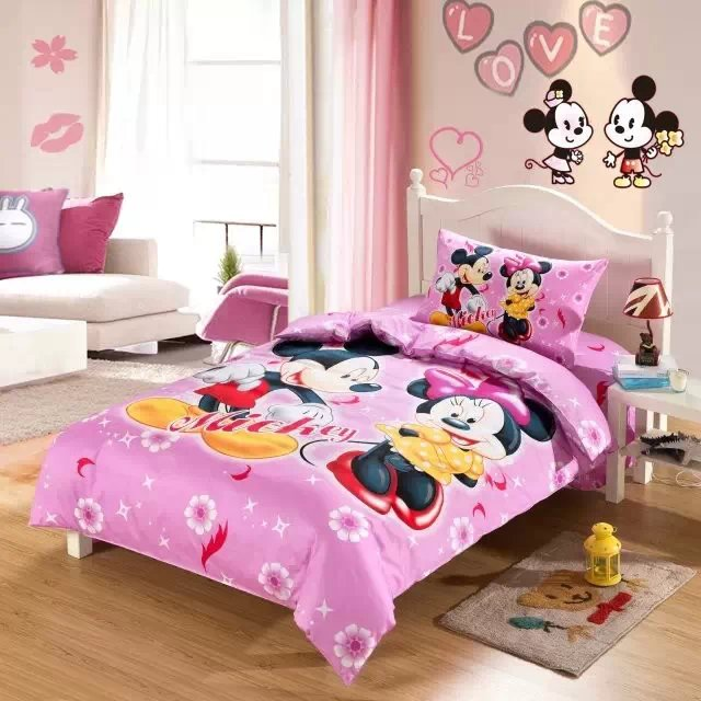 pink mickey minnie bedding sets single twin size comforter duvet covers bedspreads cotton Childrens girls bedroom decor 3-5pcpink mickey minnie bedding sets single twin size comforter duvet covers bedspreads cotton Childrens girls bedroom decor 3-5pc