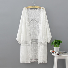 Embroidery Long Kimono Summer Tops 2017 Fashion Casual White Shirt Women Clothes Batwing Sleeve Loose Blouse Cardigan