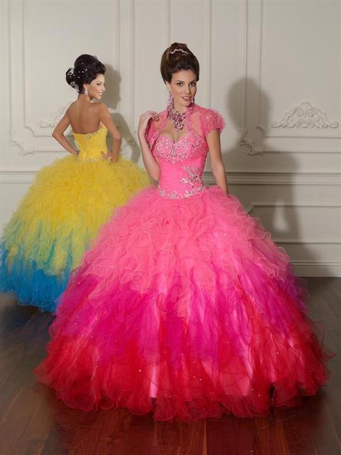 2016 De alta qualidade Glamorous Ombre Quinceanera Vestidos Vestidos De baile Sweetheart frisada doce 16 vestido 15 Anos Vestidos De 15 Anos