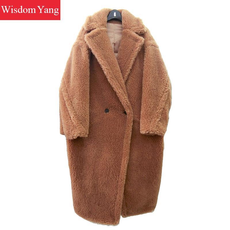 Женское длинное шерстяное пальто, элегантное Коричневое Пальто Тренч из овечьей шерсти с плюшевым мишкой, теплая зимняя верхняя одежда 2018