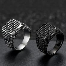 Мужское крутое квадратное титановое кольцо в стиле панк, черное кольцо из нержавеющей стали, Винтажное кольцо в стиле хип-хоп