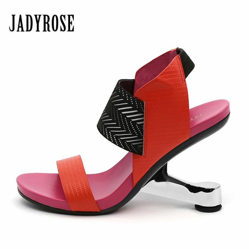 Jady Rose Strange Heel Women Gladiator Sandals Platform Pumps Female Wedding Shoes Woman New 8CM High