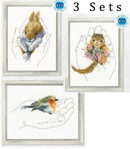 Gold Collection Lovely Counted Cross Stitch Kit Warmth In Palms Bird Squirrel Rabbit 3 Sets Rto