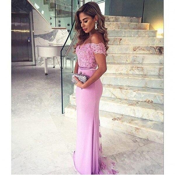 Violet clair hors épaule robes de demoiselle d'honneur 2019 pour mariage sirène robes de soirée formelles robes de demoiselle d'honneur robes de fiesta - 2