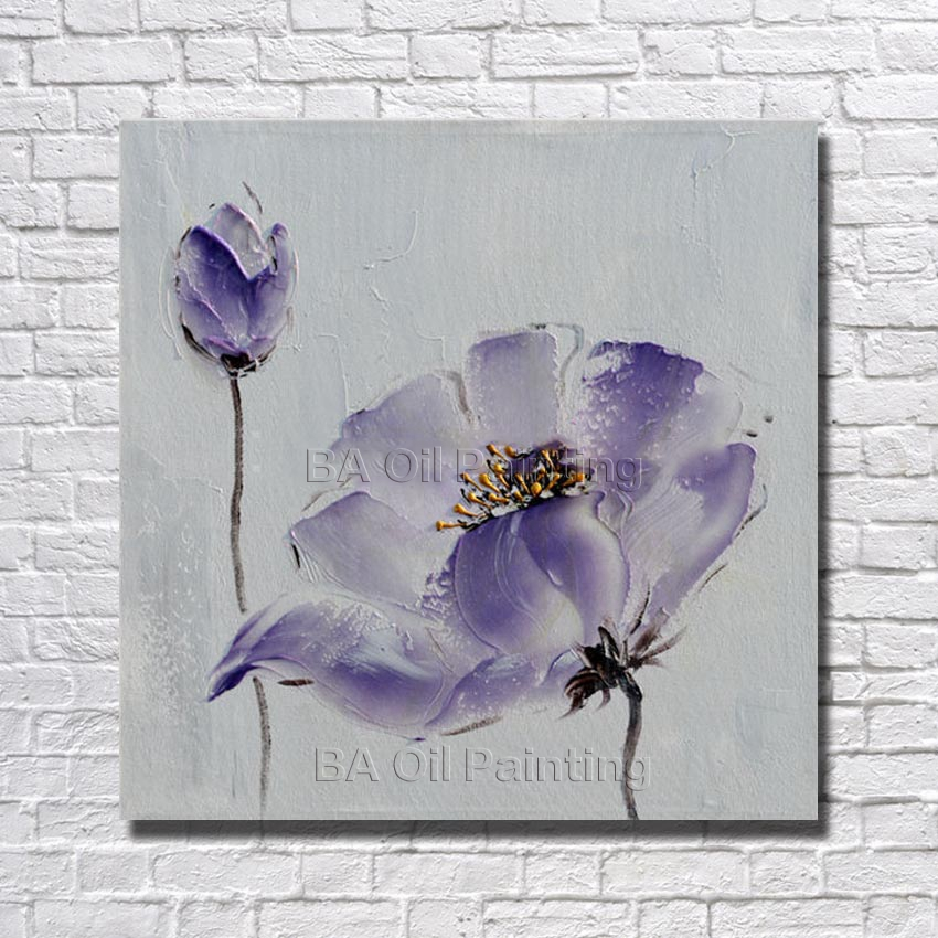 Purple Flower Oil Painting Abstract Wall Art Picture: Free Shipping Hand Painted Purple Flower Oil Painting Home