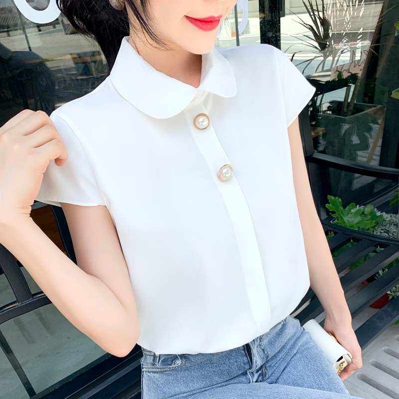 Womens Tops and Blouses Chiffon Shirt Female 2019 Summer Short Sleeve Doll Collar Blouse Shirts