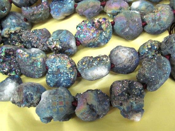 25 35mm 16inch Druzy Agate Nugget freeform egg titanium rock mystic blue rainbow jewelry bead