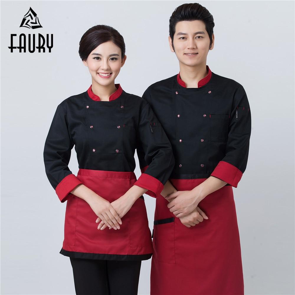 Catering Restaurant Chef Kitchen Work Uniform Unisex Baker Cafe Waiter Barber Overalls Outfit Cozinha Long Sleeve Cooking Jacket