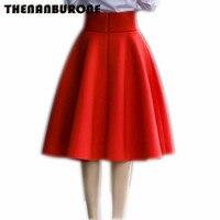THENANBURONE Wysoką Talią Zakładka Elegancka Spódnica 2017 Czarny Biały Kolan Spódnice Moda Kobiety Moda 5XL Plus Size Panie jupiter