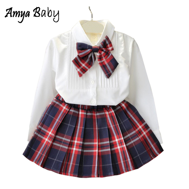 Amyababy Boutique Kids Clothing Girls Clothing Set Long Sleeve Blouse + Plaid Skirt + Bowknot 3pcs Girls Outfits Toddler Clothes