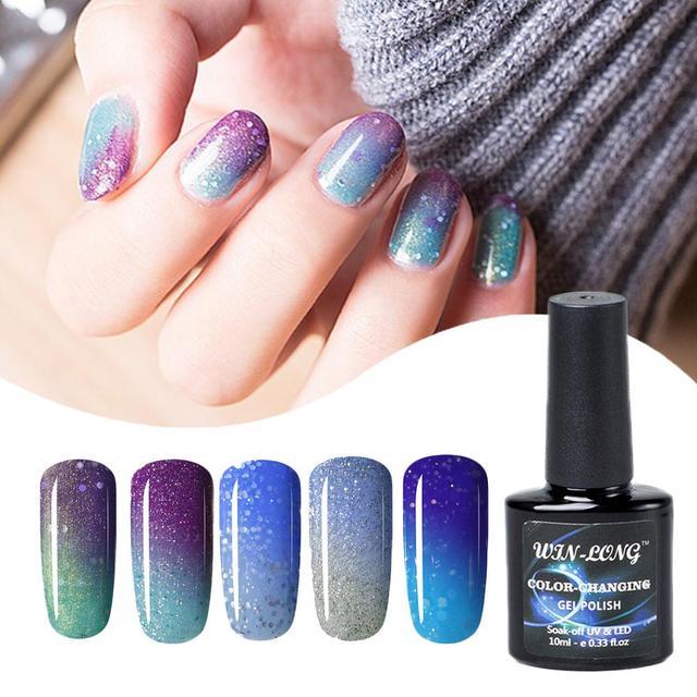 2 Colors Thermal Nail Gel Polish 10ml Temperature Color Changing ...