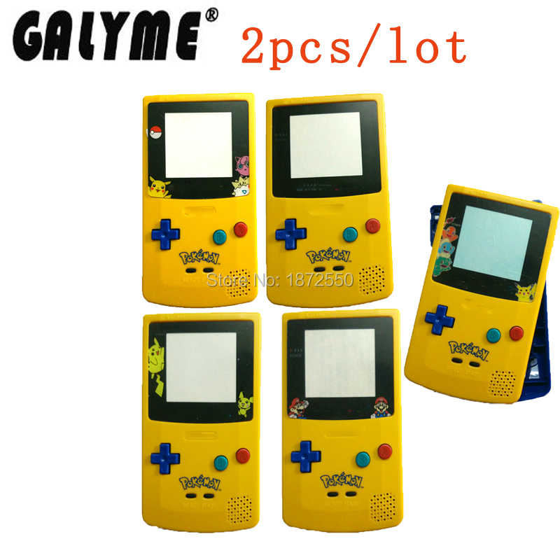 2pcslot For Pocket Monsters Upper Yellow Down Blue Limitd Version For GameboyColor Game Console Housing Case Pack Boy Shell