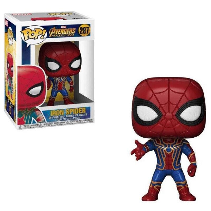 New 10cm Avengers 3 Action Figures Model Super Hero Infinity War THANOS IRON SPIDER HULKBUSTER POP Figure For Children Gift