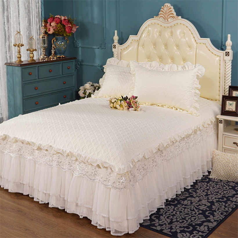 Quilted Cotton Queen King Bed set Elegant Solid Cream Beige Double Layer Lace Bedskirt Girls Ruffle Lace Princess Bedding Set