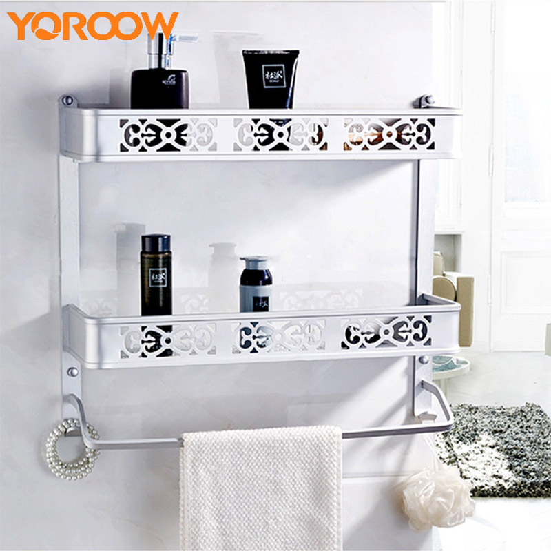 Silvery Bathroom Shelf Shower Basket Towel Rack Wall Mounted Metal Aluminum Shelves Nail Polish Rack Bath Kitchen Chrome SG0019 aothpher steel chrome strong suction shower basket sucker bathroom shelf washing room kitchen corner basket wall mounted rack