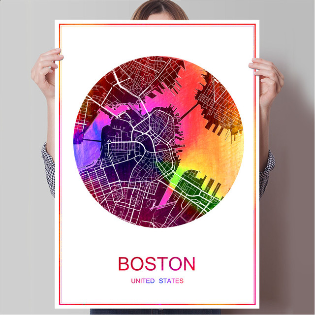 Boston usa famous world city map print poster print on paper or canvas wall sticker bar