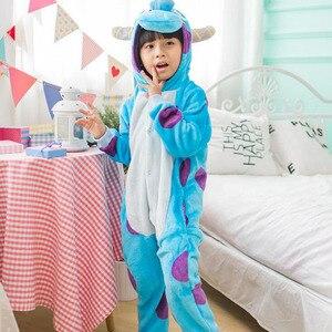 Image 2 - Sullivan Kigurumi Costume Kid Onesie Anime Cosplay Blue Monsters University Boys Girls Mascot Flannel Warm Party Wear Funny suit