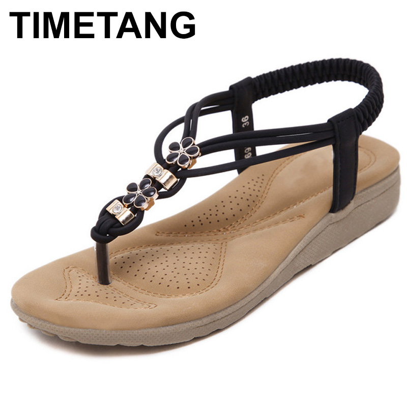 TIMETANG Summer Women Sandals 2018 Gladiator Sandals Women Shoes Bohemia Flat Shoes Sandalias Mujer Ladies Shoes C074 summer women sandals elastic band gladiator sandals women beach shoes bohemia wedges shoes sandalias mujer ladies shoes or876610