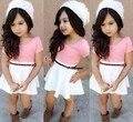Розничные 2015 Новые Девушки с коротким рукавом розовый майка + белый юбки набор с поясом детская мода одежда детская одежда устанавливает 1 компл./лот
