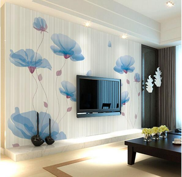 3D Floral Wall Paper Large Photo Mural Wallpapers Roll Murals Living Room TV Background Custom Size Pink Blue Purple Wall Decor
