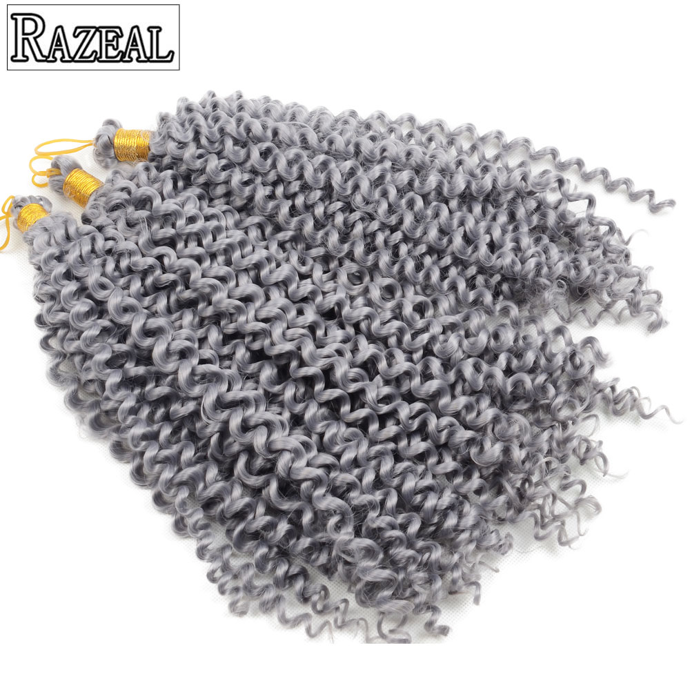 "Razeal 14 ""Afro Curly Pure Color Crochet თმის Bohemian Extension Crochet Braids სინთეზური Braiding თმის Crochet Latch Hook"