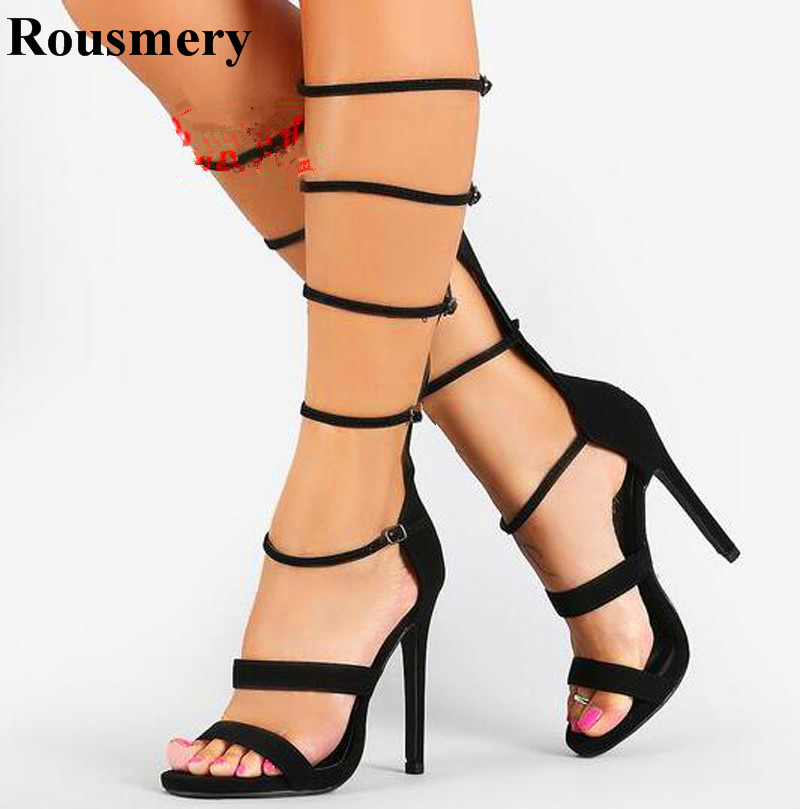 Summer New Fashion Women Open Toe Cut-out Straps Design High Heel Boots Buckle Design Knee High Gladiator Boots Dress Shoes