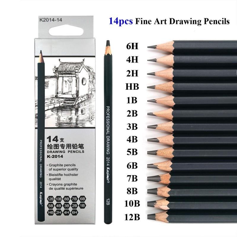 14 Pcs/set Sketch And Drawing Pencil Set HB 2B 6H 4H 2H 3B 4B 5B 6B 10B 12B 1B Pencils Writing Supplies Office School Supplies