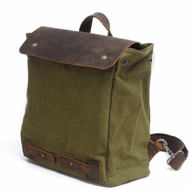 M103 New Vintage Backpack Leather Canvas Men School Bag Military Women Rucksack Male Knapsack