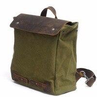 M103 New Vintage Backpack Leather Canvas Men Backpack School Bag Military Backpack Women Rucksack Male Knapsack Bagpack Mochila