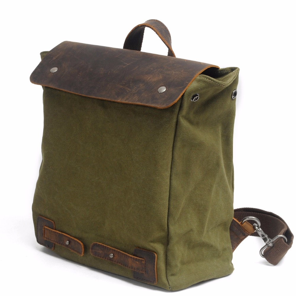 M103 جديد خمر حقيبة جلدية قماش ظهره النساء الرجال حقيبة المدرسة العسكرية الظهر الذكور bagpack mochila-في حقائب الظهر من حقائب وأمتعة على  مجموعة 1