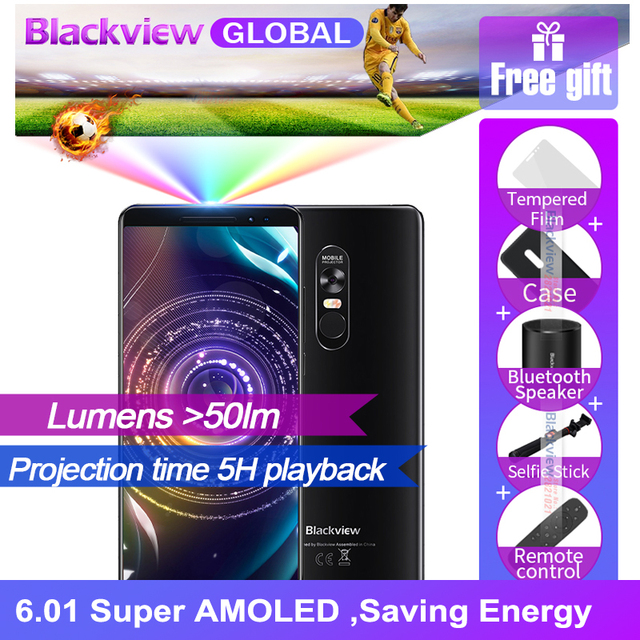 Blackview MAX 1 Laser projector phone 6.01 inch 18:9 AMOLED 6GB 64GB 4680mAh Android 8.1 Mini Projector NFC Smartphone