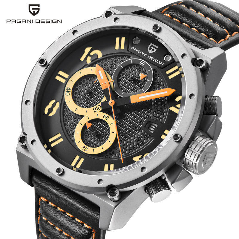 Chronograph Sports Watches PAGANI DESIGN Military Wistwatch Men Leather Quartz Watch Luxury Brand Waterproof Relogio Masculino luxury brand pagani design waterproof quartz watch army military leather watch clock sports men s watches relogios masculino