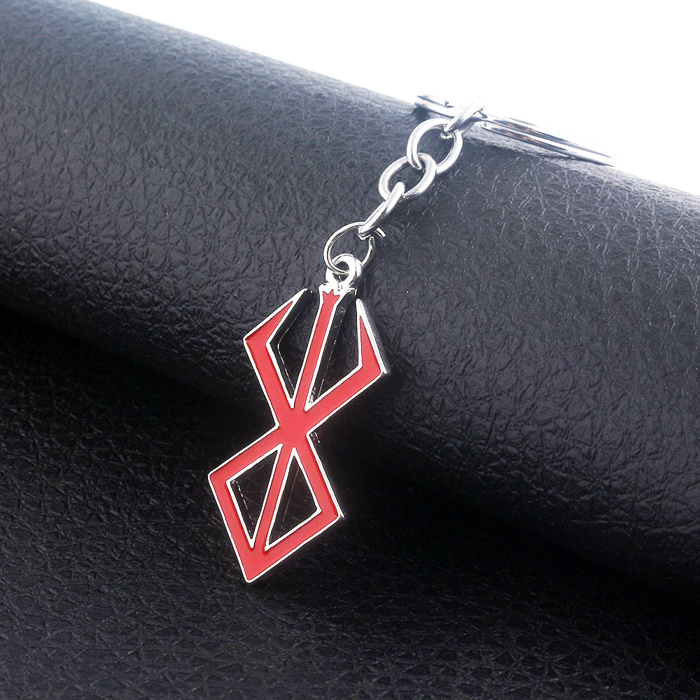 Japan Game Berserk Logo Keychain Guts Sword Red Logo Charms Pendant Key Chains For Women Men Choker Keyring Jewelry