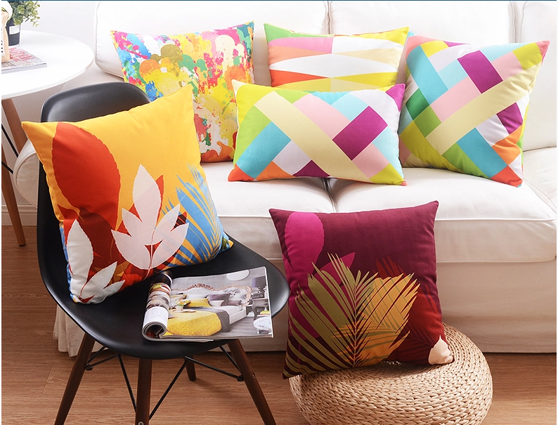 Us 55 89 5pcs Lot American Style 45 45cm Square Decorative Cushion Cover Velvet Fabric Pillow Covers Scenic Natural Print Cushions Cases In Cushion