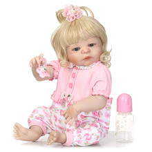 55cm blond princess girl reborn Dolls full silicone menina Baby Doll hard Vinyl Boneca Brinquedos toy for children gift