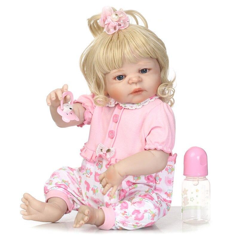 55cm blue eyes girl bebe reborn Dolls full menina de silicone menina Baby Doll Curly hairv