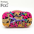 Women's Fuchsia Oil Painting Rhinestones Crystal Animal Jungle Forest Evening Clutches Purse Hard Hollow Out Handbag Clutch Bag