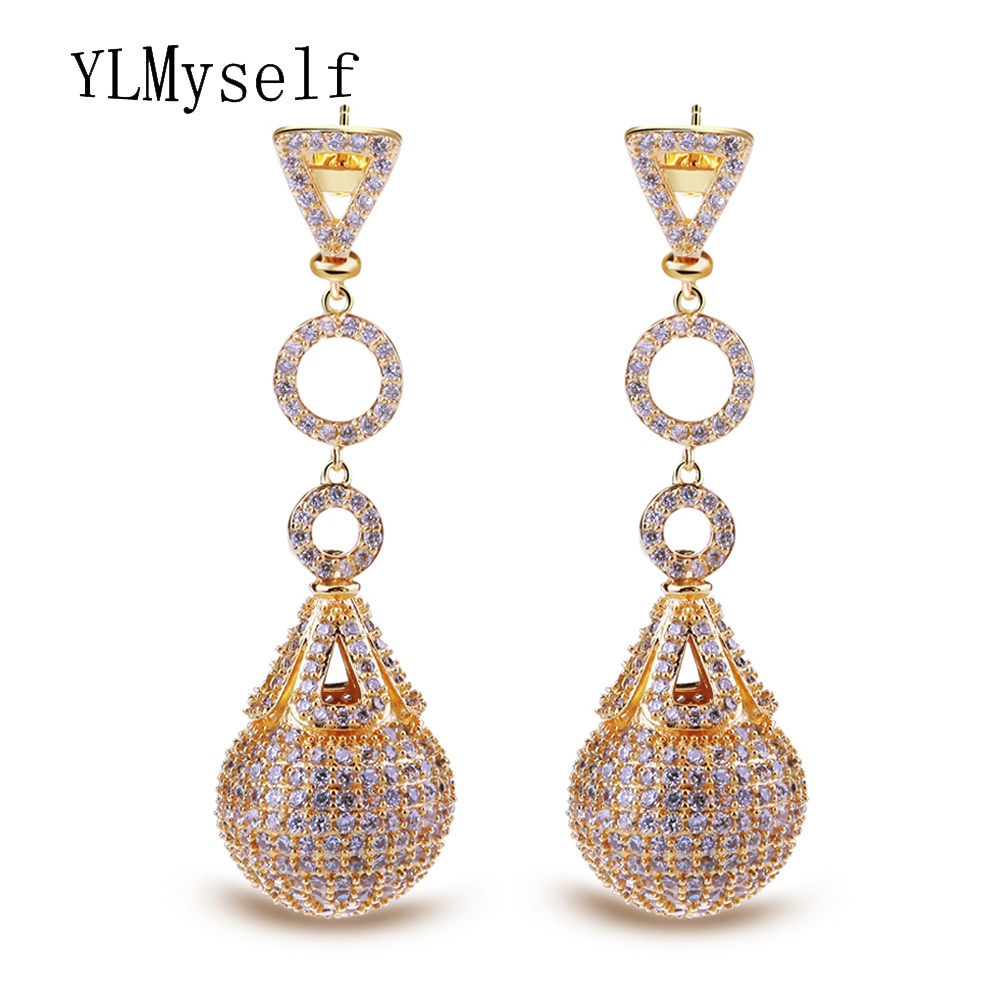 Luxury large dangling earrings big ball drop Great quality jewelries crystal zirconia brincos joyas Drop earring