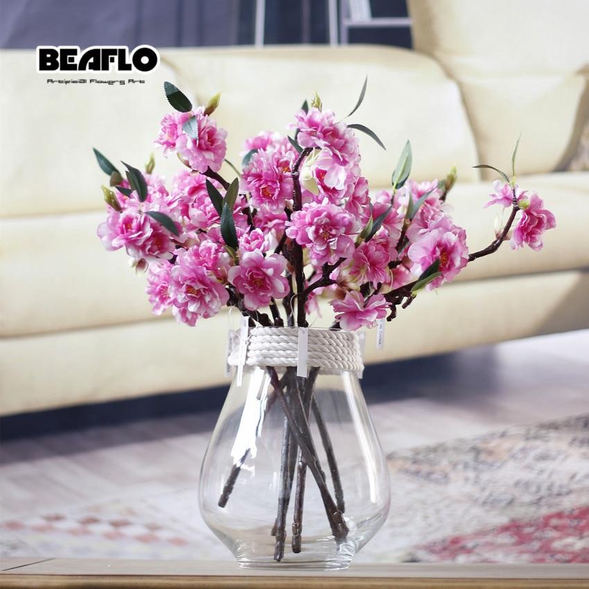 1 ADET Mini Canlı Yapay Çiçek Kiraz Çiçeği Sakura Çift - Tatiller ve Partiler Için - Fotoğraf 4