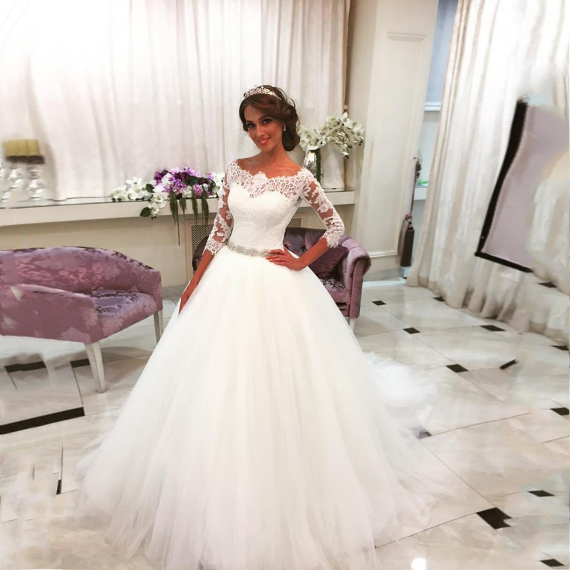 Elegant White Lace Appliques Ball Gown Wedding Dresses 2019 Half Sleeves Beads Sash Button Back Wedding Gowns Robe De Soiree