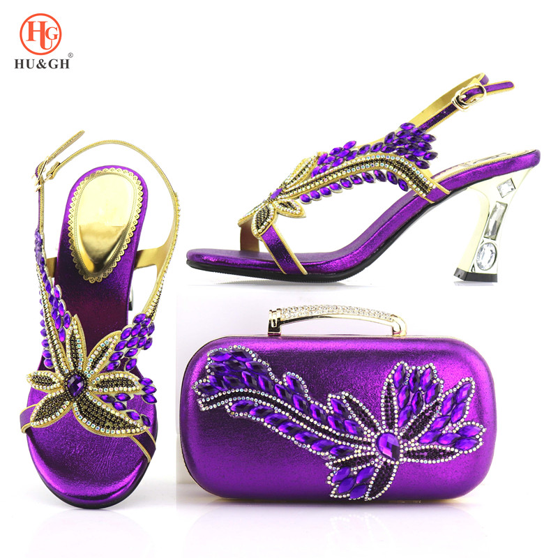 Purple Upscale Italian Shoes And Bags Set African Wedding Woman Pumps Matching Bag Set Factory Price Wedding High Shoes Summer image
