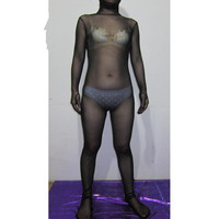 Noir Sheer Soie Transparent Collants Unisexe Fétiche Zentai Costumes
