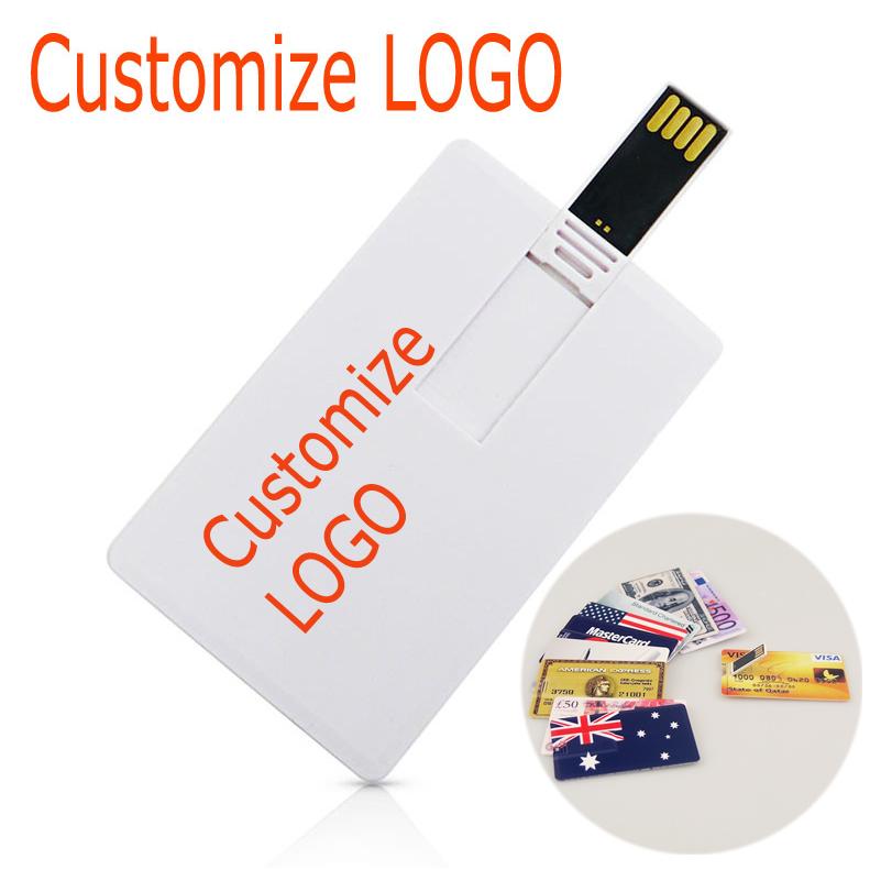 Prix pour 50 pcs/lot LOGO personnalisé carte de crédit USB Flash Drive pen drive 128 M 256 M 512 M 1 GB 2 GB 4 GB 8 GB 16 GB 32 GB pendrive memory stick