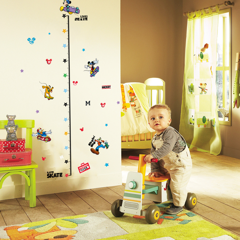 Mickey Mouse Child Height Measure Wall Stickers For Nursery Kids Room Decorations DIY PVC Home Growth Chart Decor Cartoon Decals in Wall Stickers from Home Garden