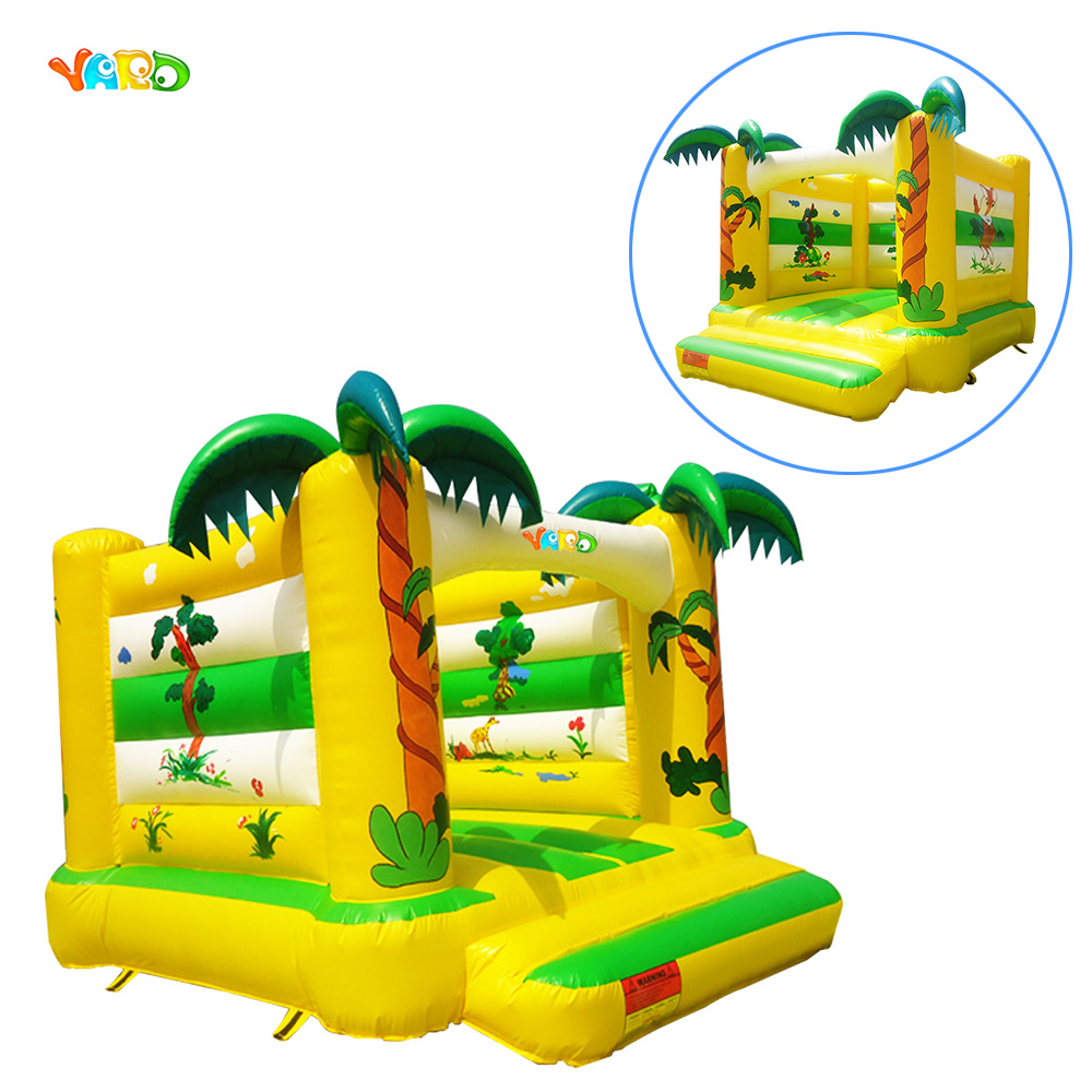 лучшая цена Children jungle inflatable trampoline bounce house jumping bouncer moonwalk bouncy castle