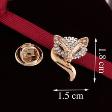 Fashion Wild Women Collar brooch Pins For Wedding and party Dresses,Small Gold Fox Rhinestone Dangling Brooch pins,Bride pins