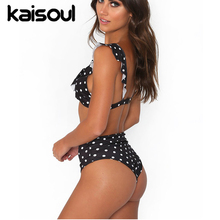 Two Pieces Swimsuit Dots Women Swimming  Beachwear Sexy Bikini Set Swimwear New Arrival Push Up Vintage Ruffle Black Blue White