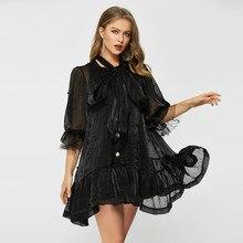 Подиум летнее милое платье женское мини роскошное платье из органзы с бантом и воротником свободные платья женские винтажные Вечерние платья из двух частей с бисером Vestido