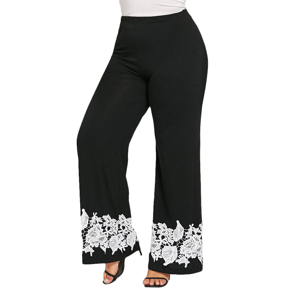 2018 Fashion Plus Size 5XL Floral Lace Crochet Palazzo Pants Women Elastic  High Waist Wide Leg Loose Trousers Boho Pant Big Size-in Pants   Capris  from ... 171df5a9a5c1