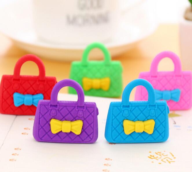 24pcs Cutie Lady Purse Novelty Eraser Writing Office Stationery Kids Birthday Festival Party Favor Takeaways Gifts